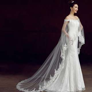 Pre order white off shoulder cape lace fishtail bodycon mermaid wedding bridal gown dress  RB0535