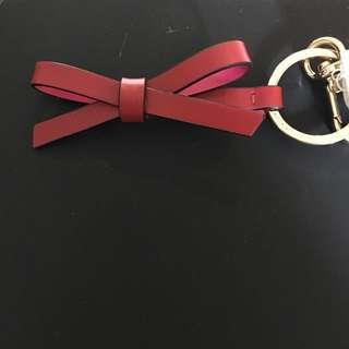 Kate Spade Red Leather Bow Key Chain. Authentic