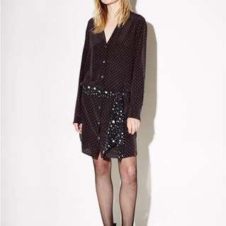 🚚 Equipment x Kate Moss 聯名款 真絲silk點點拼接星星腰帶襯衫洋裝