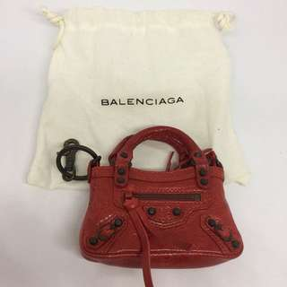 [NEW] Balenciaga Leather Coins Holder/Keychain (Red)