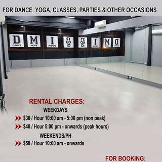 Dance Studio Rental > rehearsal,classes,gatherings,parties,meetings or events
