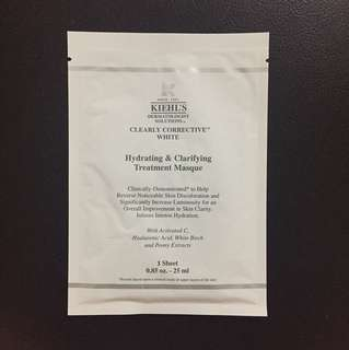 Kiehl's Clearly Corrective White Hydrating & Clarifying Treatment Masque Mask 1 Sheet 25ml