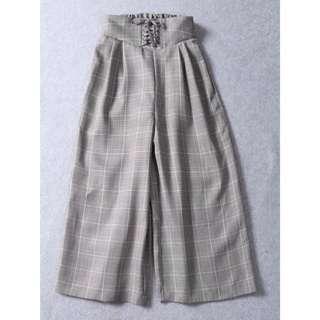 OshareGirl 01 日單高腰格紋綁帶寬褲寬版長褲