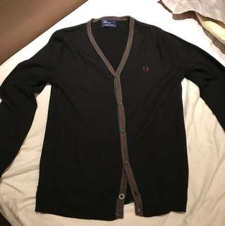 Fred Perry Cardigan Black Wool