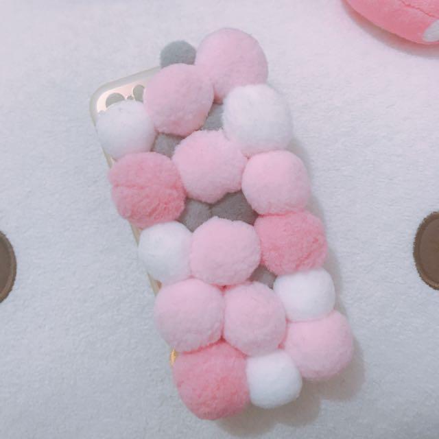 5s毛球冬季浪漫粉手機殼