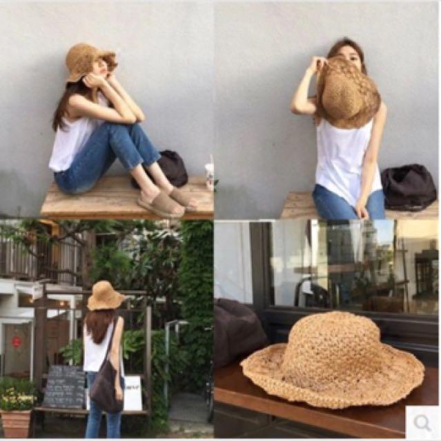 二手編織藤編遮陽帽