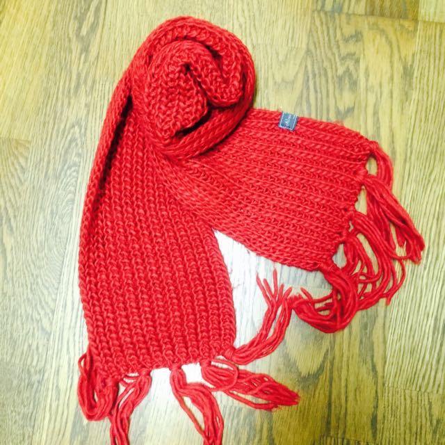 🎄聖誕老公公正紅色針織圍巾❤️