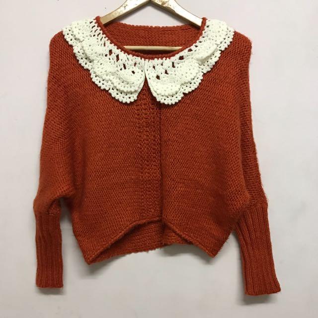 可愛寬袖橘色毛衣