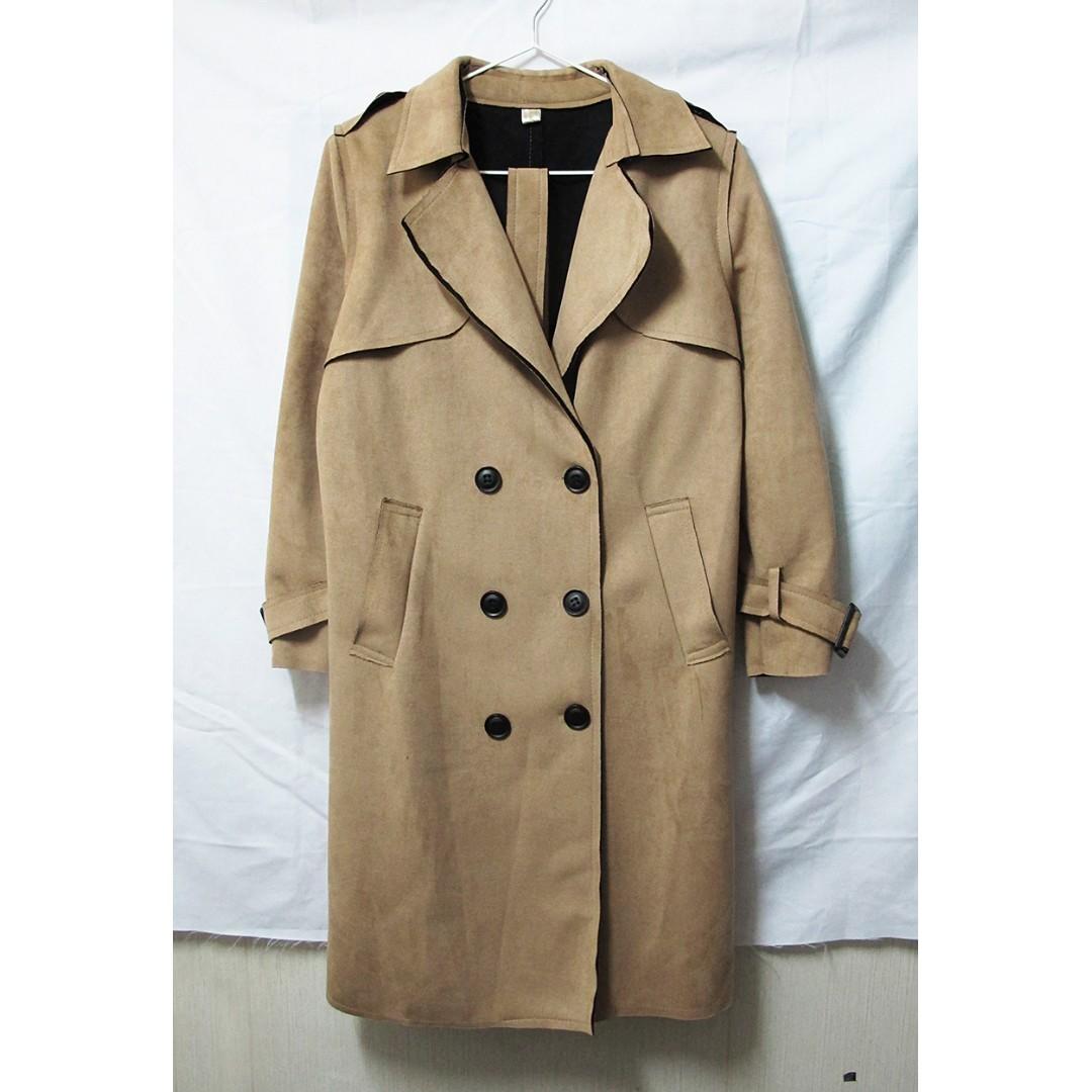 韓店購入 韓版高質感麂皮駝色大衣外套
