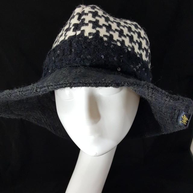 手作帽 個性羊毛拼接四片頂大寬沿帽 頭圍57