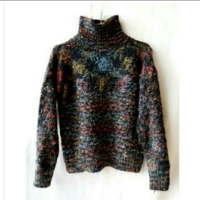 韓版 全新 超保暖潑墨感厚織毛衣