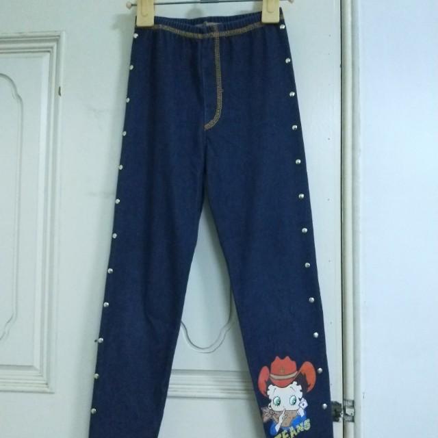 《八成新》Betty Boop 深藍仿牛仔布彈性內搭褲內搭