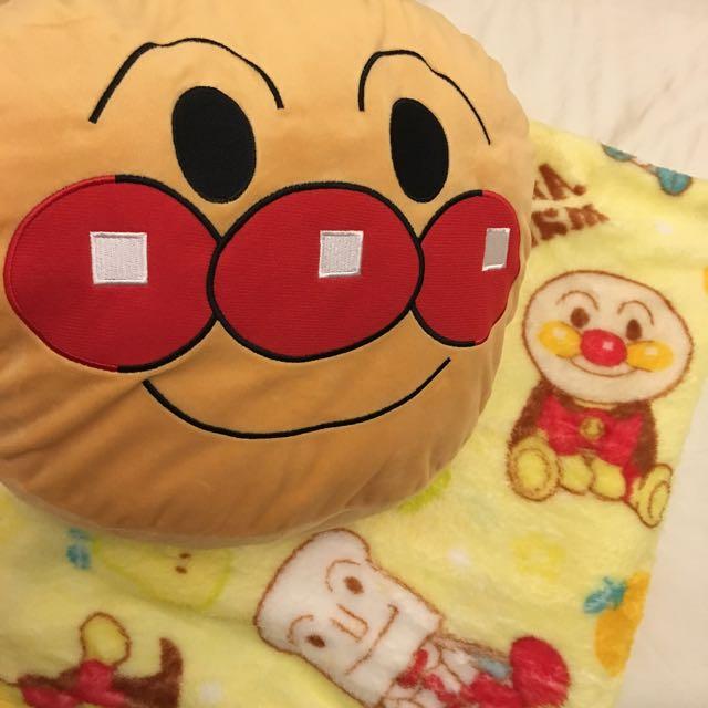 全新✨三合一 麵包超人 法蘭絨暖手抱枕毯子靠墊