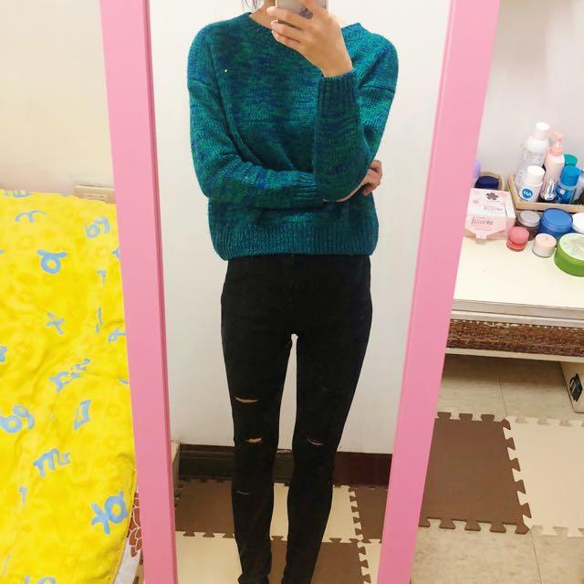 毛衣 綠色毛衣 針織 長袖毛衣
