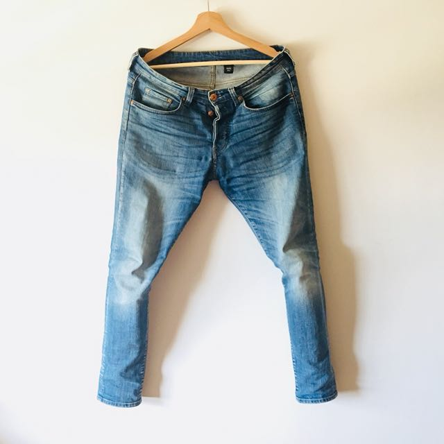 二手美品 H&M Denim 合身淺藍刷色牛仔褲 W31L30