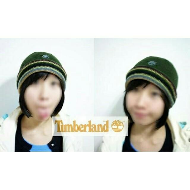 全新正品 Timberland 墨綠色經典條紋電繡LOGO毛帽