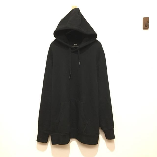 九成新 uniqlo 2017冬季款 黑色連帽上衣 帽tee XL 毛巾布內裡