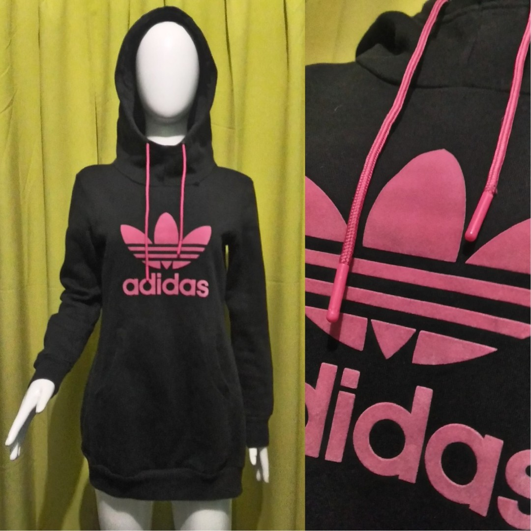 adidas black and pink trefoil long hoodie
