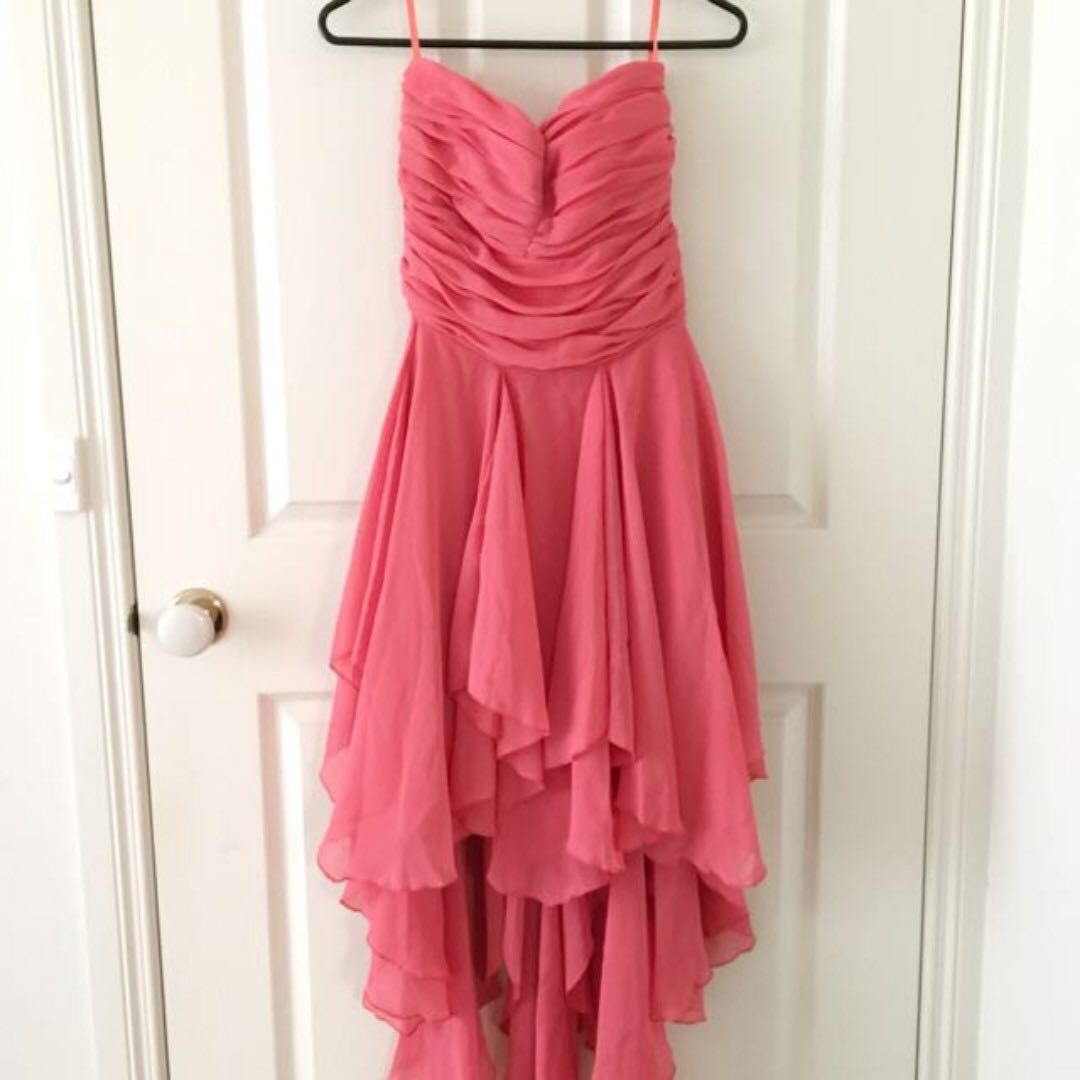 ALLY FASHION Coral Waterfall Formal Party Dress Size S
