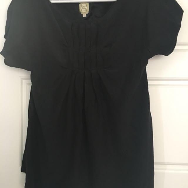Anthropologie pure silk black small XS Tshirt Top