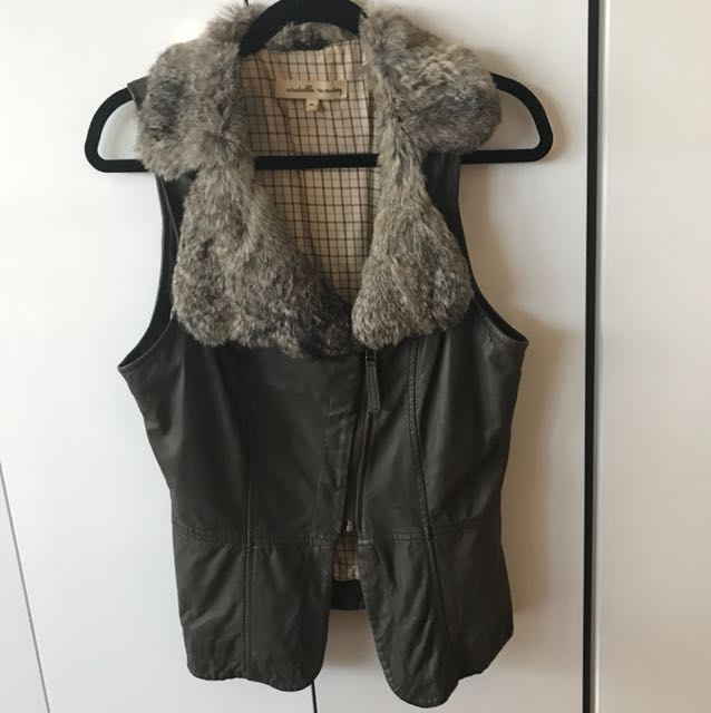 Arabella Ramsey - khaki leather, fur collar vest