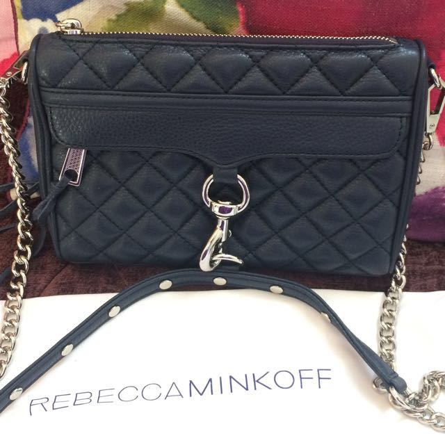 Authentic Rebecca Minkoff Quilted Mini Mac Crossbody Bag In Navy