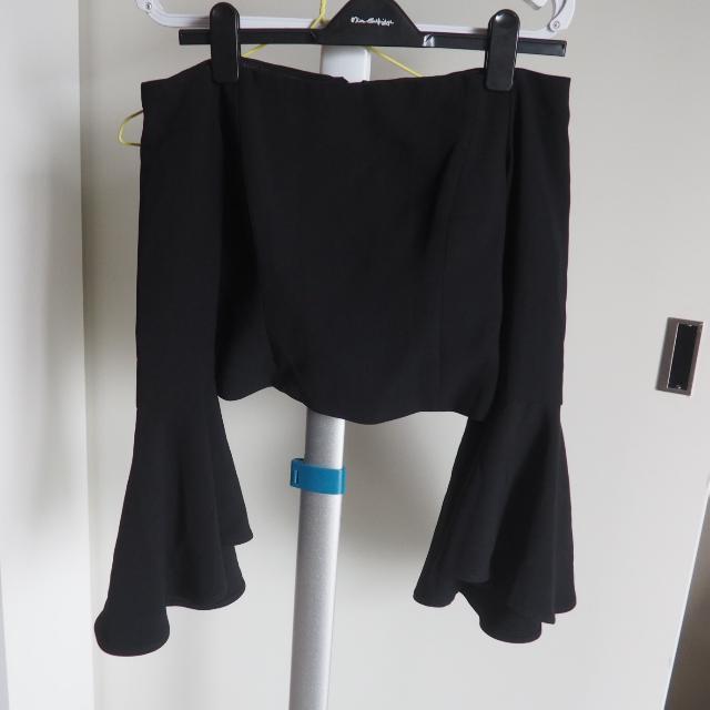 Bardot Black Bell Frill Sleeve Off Shoulder Top