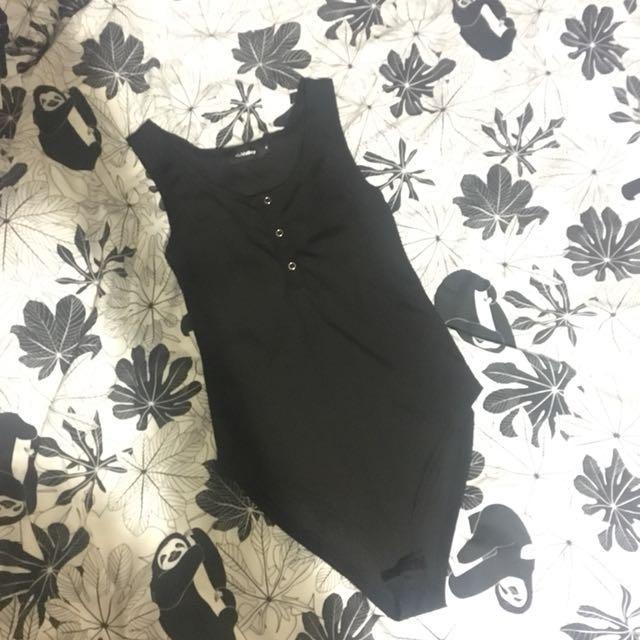 Black button top body suit