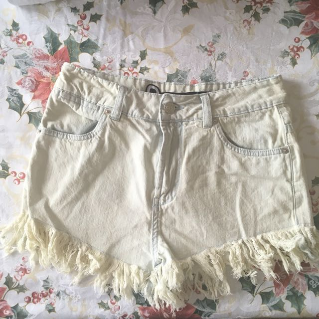 Bleached Denim High Waisted Shorts