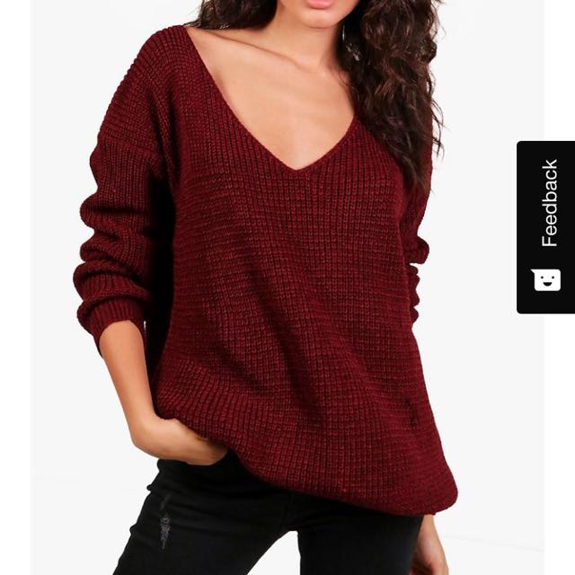 Boohoo V Neck Oversized Knit Jumper in Maroon & Black - Size S/M (AU10-12)