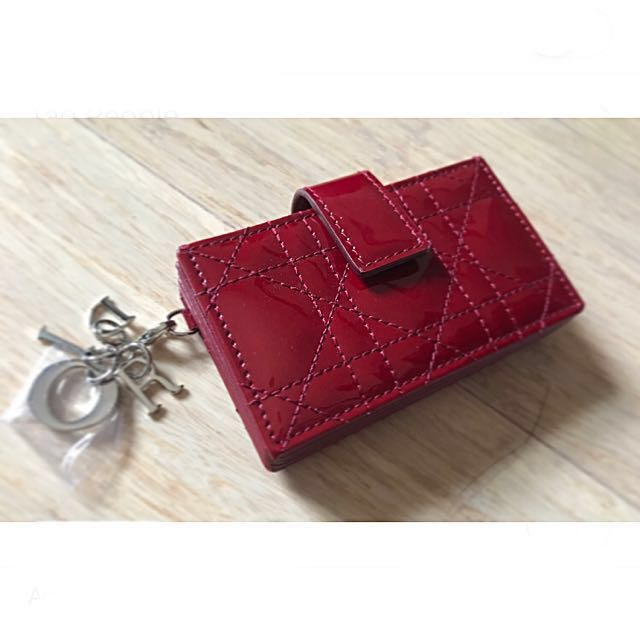 Brand new DIOR card holder/wallet - deep red patent leather (with original box)