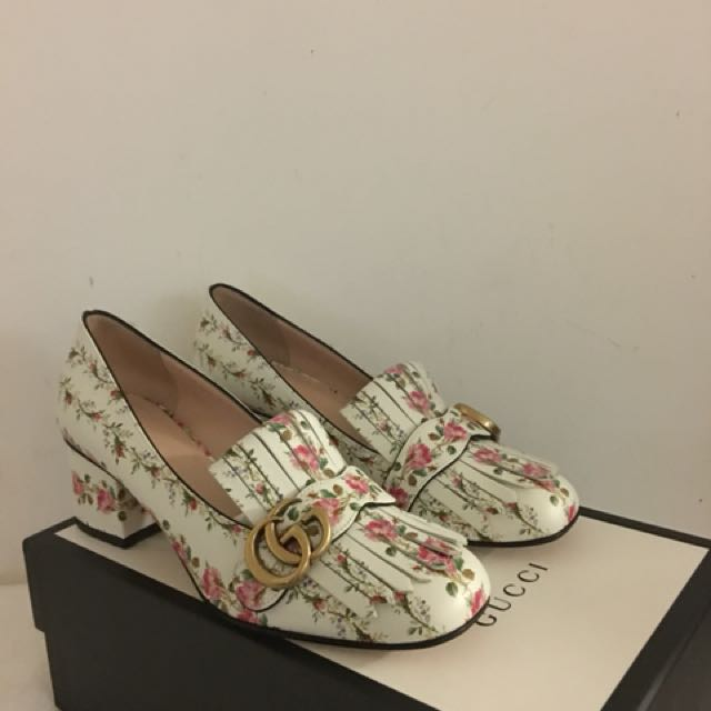 Brand new GG marmont floral mid-heel pumps
