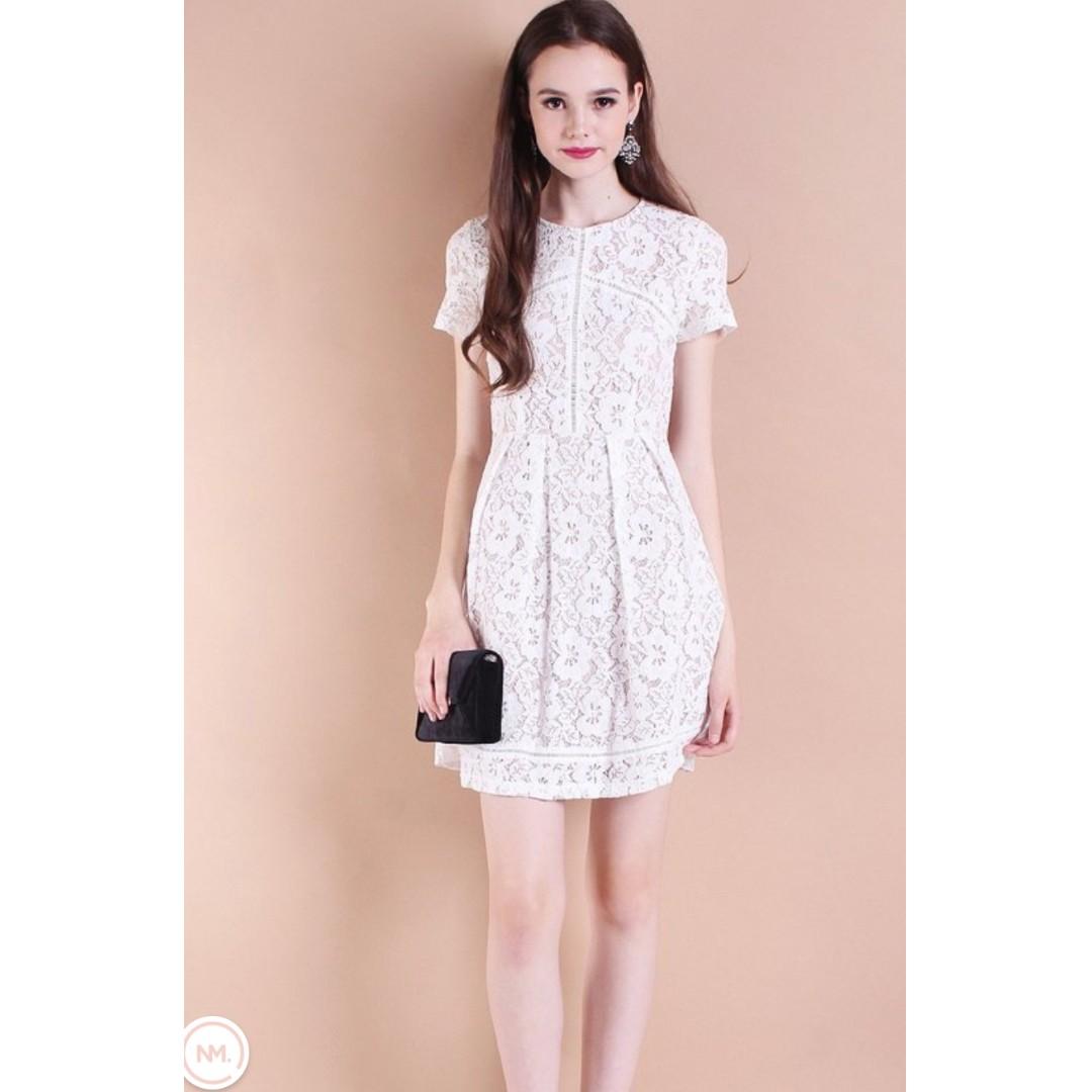 2ca7e147d46 Brand New Neonmello Monaco Lace Panelling Fit n Flare Dress in White ...