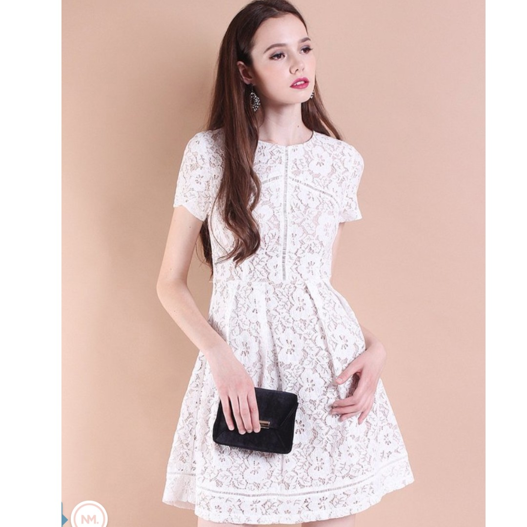 c25a897177f Brand New Neonmello Monaco Lace Panelling Fit n Flare Dress in White (Size  S)