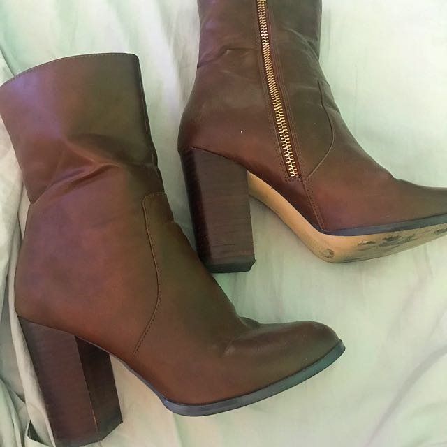 Brown leather boots size 37