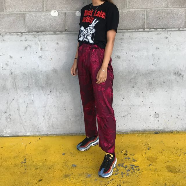Burgundy red chinese printed pants