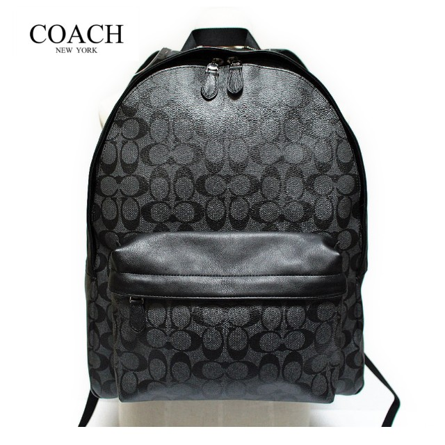 476120cb3 ... clearance coach signature mens campus backpack f71973 in charcoal black  mens fashion bags wallets on carousell