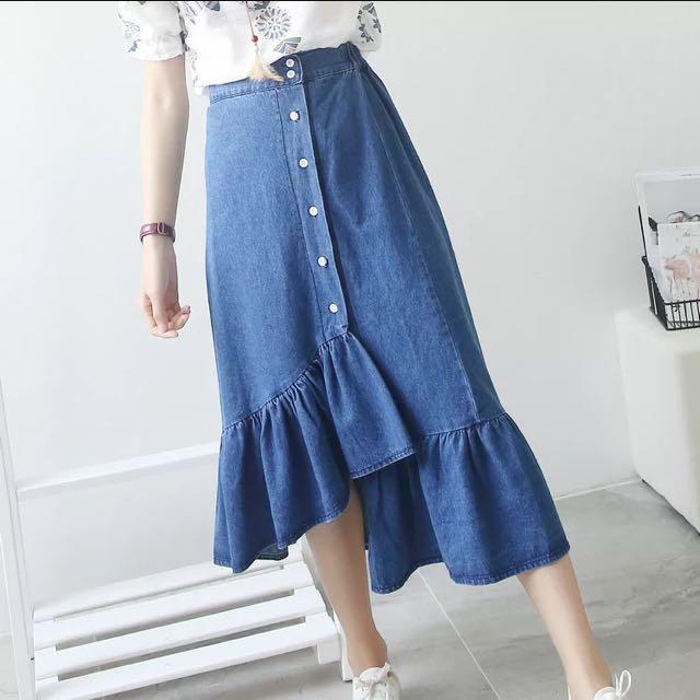 Denim Ruffled Asymmetrical Midi Skirt