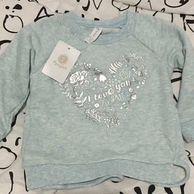 DYMPLES 'I love you always' Silver Heart Printed Baby Girl Sweat