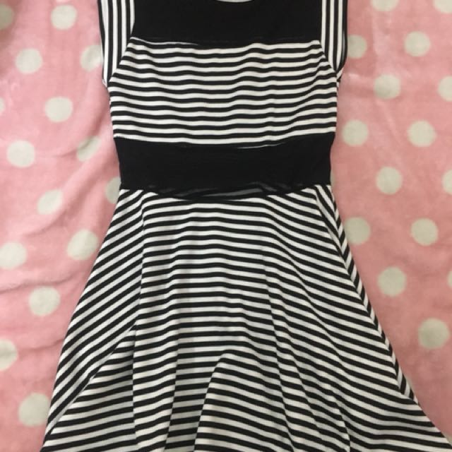 F21 B&W Striped Mesh Dress