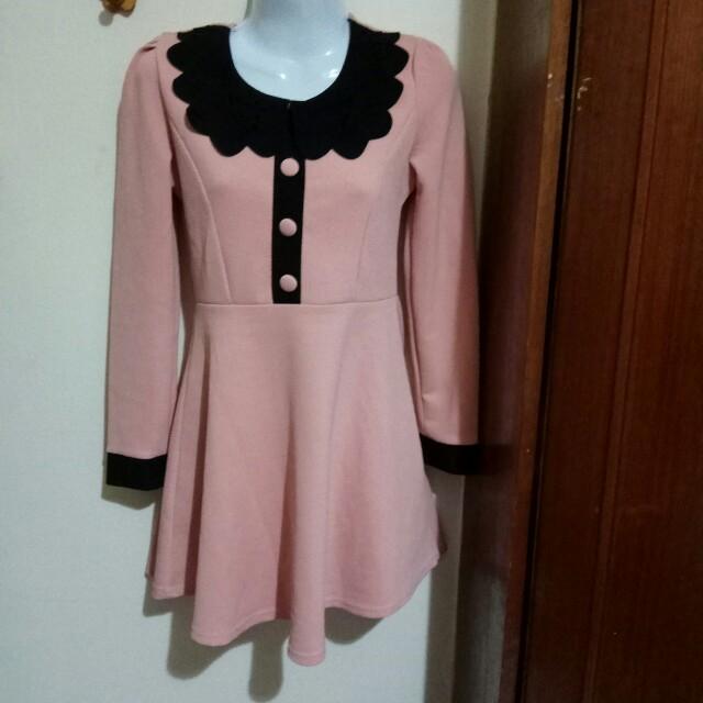 鮭粉色長袖洋裝F