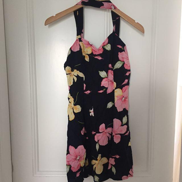 Floral Halter-Neck Dress - size 12