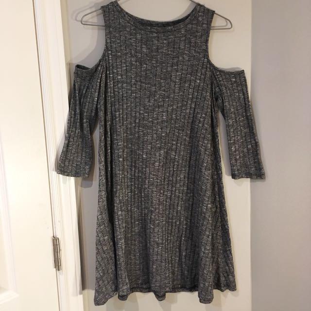 Forever 21 Grey ribbed open shoulder dress