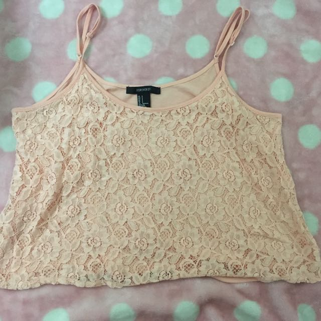 Forever 21 Peach Laced Cropped Top
