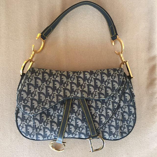 d36785e26f59 Genuine Dior Denim Logo Double Saddle Bag