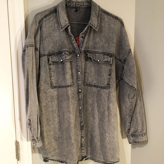Grey denim oversized shirt/jacket with embroidery