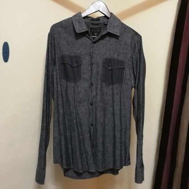 Guess gray longsleeves polo