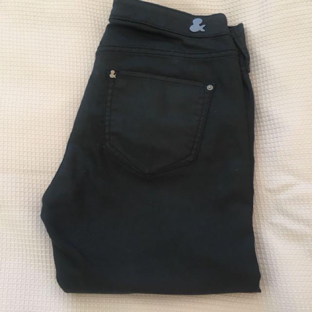 H&M Black Wet Look Denim Jeans Size 6 #CheapasChips