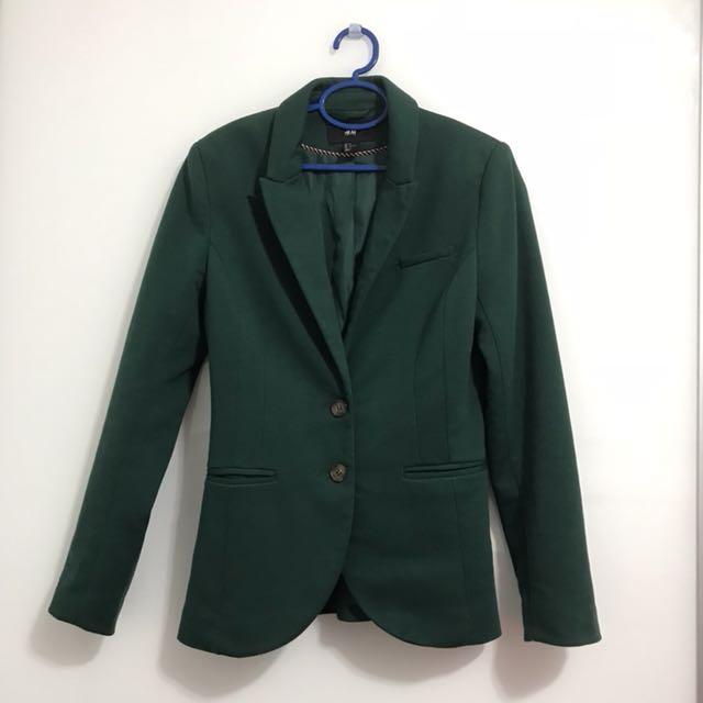 d6d712cb16e H M dark green blazer