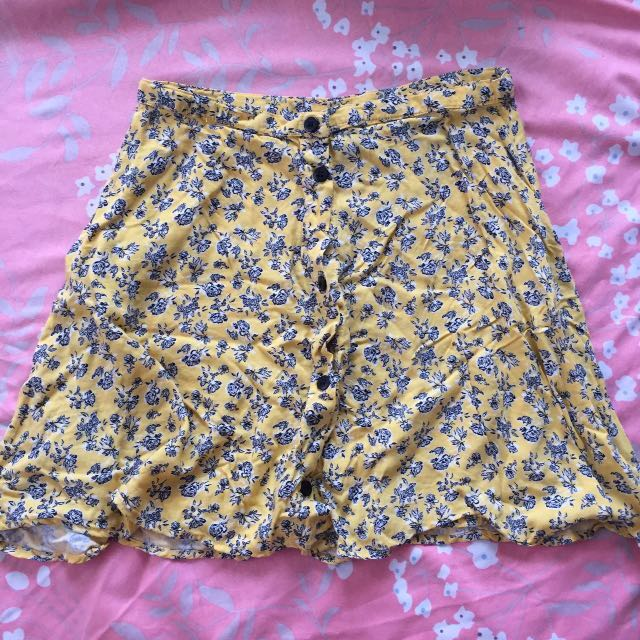 H&M Floral Button Skirt
